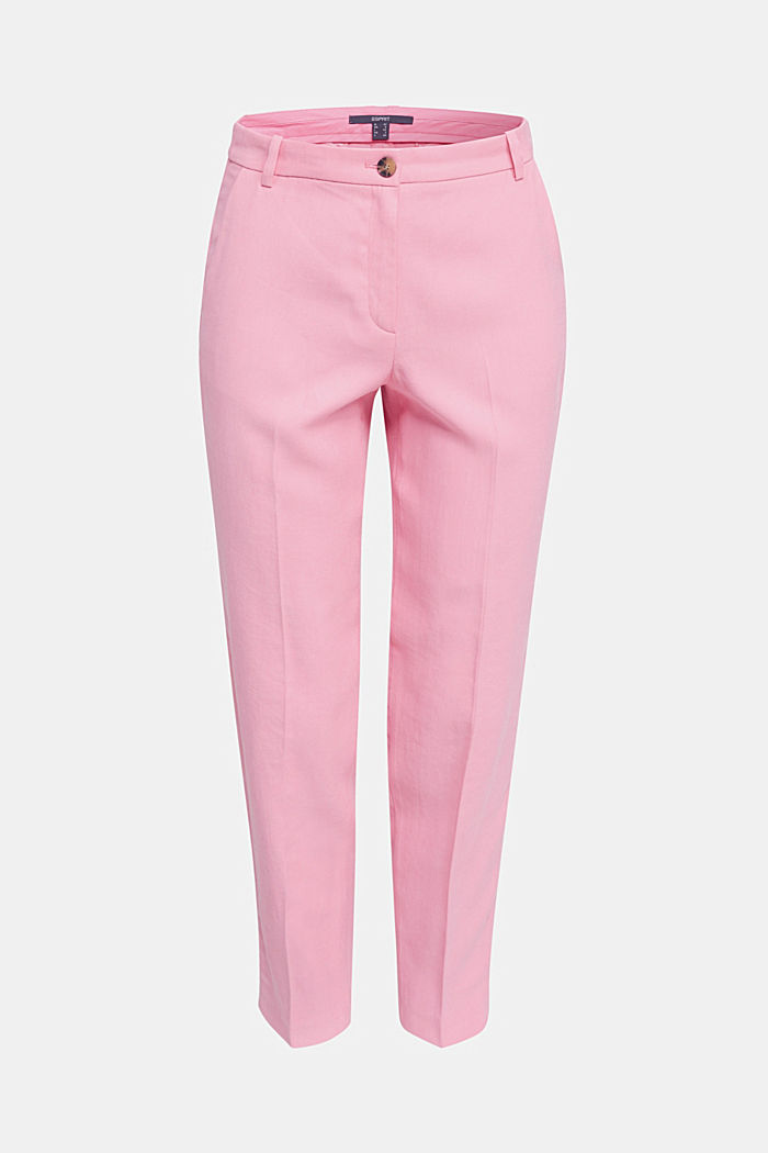 Ankle-length trousers with a flowing drape, PINK, detail image number 6