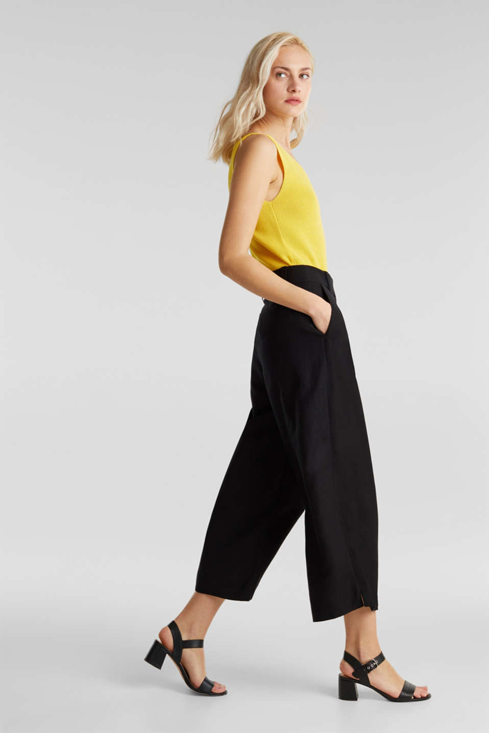 Linen blend: culottes with waist pleats, BLACK, detail image number 0