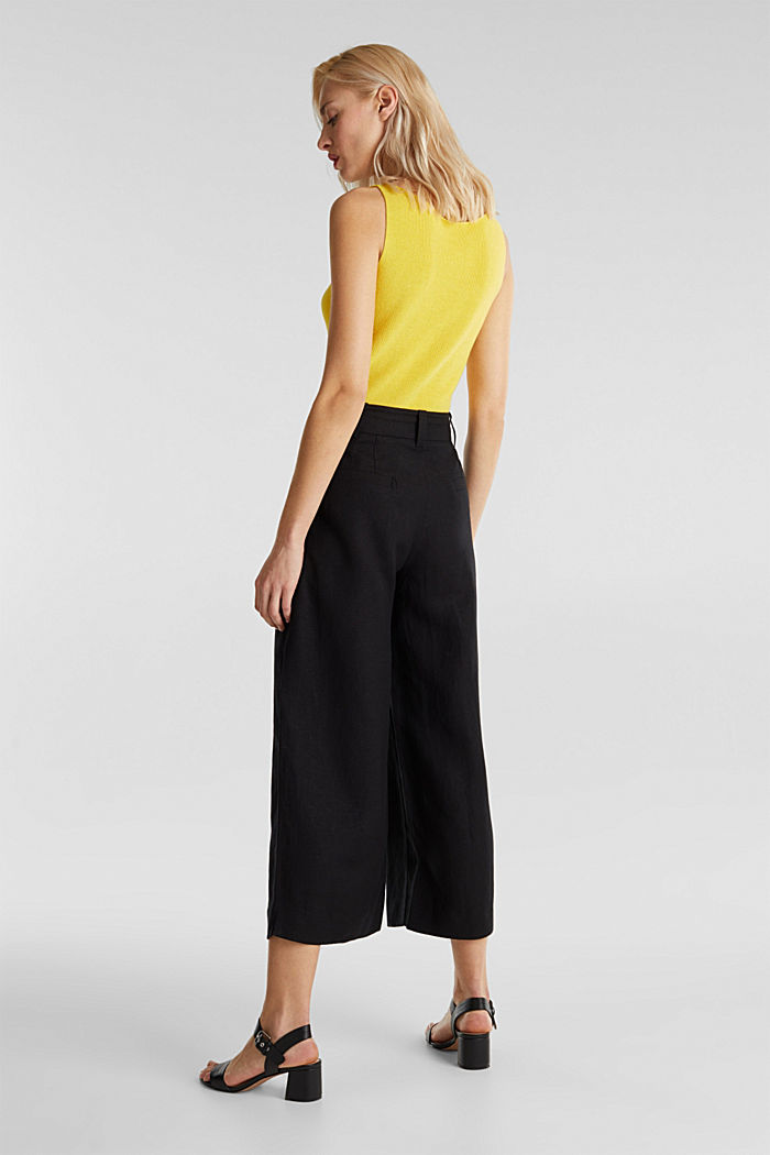 Linen blend: culottes with waist pleats, BLACK, detail image number 3