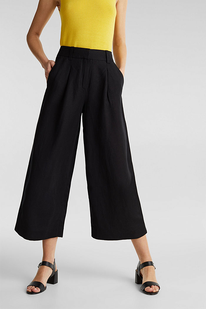 Linen blend: culottes with waist pleats, BLACK, detail image number 6