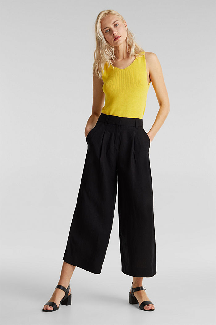 Linen blend: culottes with waist pleats, BLACK, detail image number 1