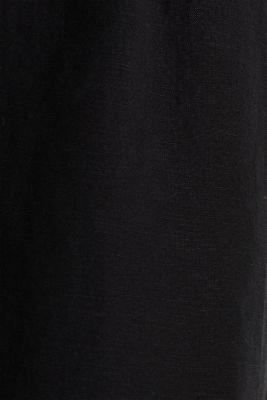 Linen blend: culottes with waist pleats, BLACK, detail