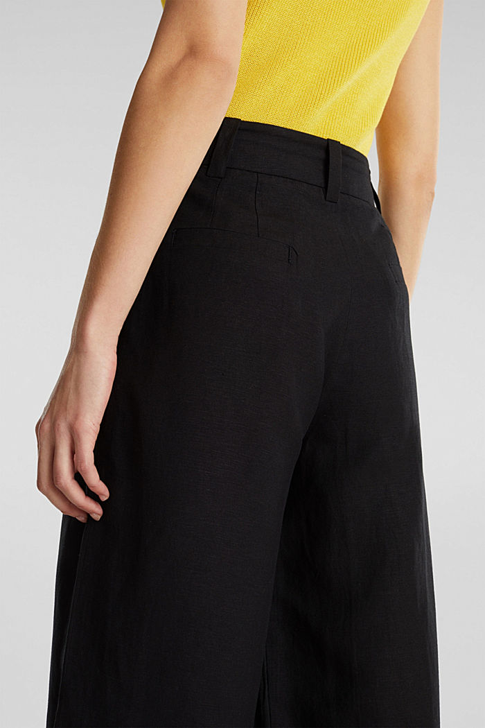 Linen blend: culottes with waist pleats, BLACK, detail image number 5