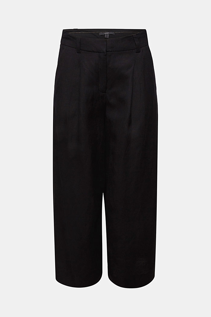 Linen blend: culottes with waist pleats, BLACK, detail image number 7