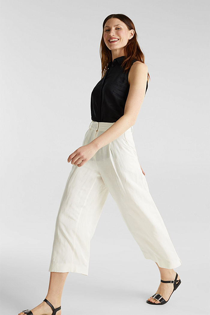 Linen blend: culottes with waist pleats, OFF WHITE, detail image number 0