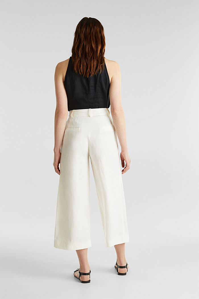 Linen blend: culottes with waist pleats, OFF WHITE, detail image number 3