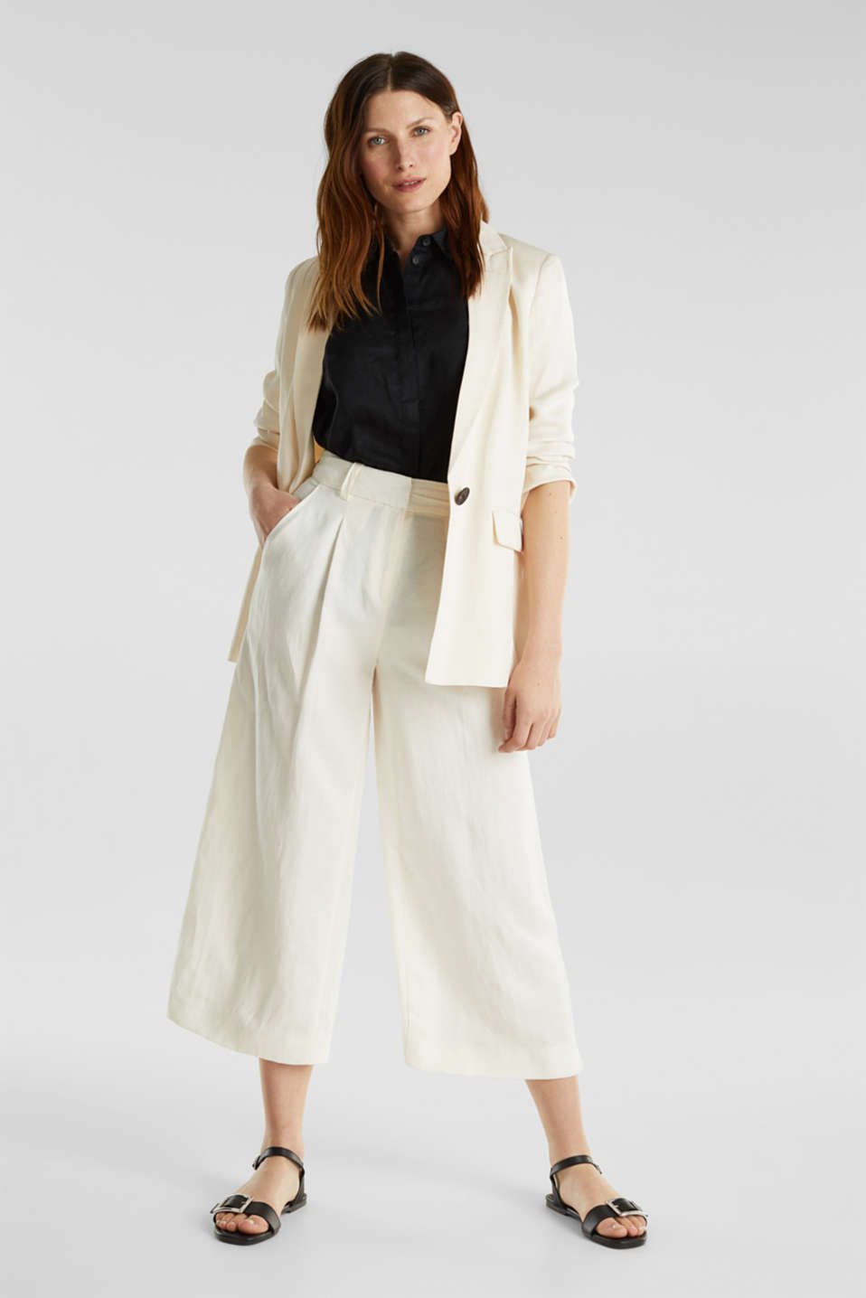 Linen blend: culottes with waist pleats, OFF WHITE, detail image number 1