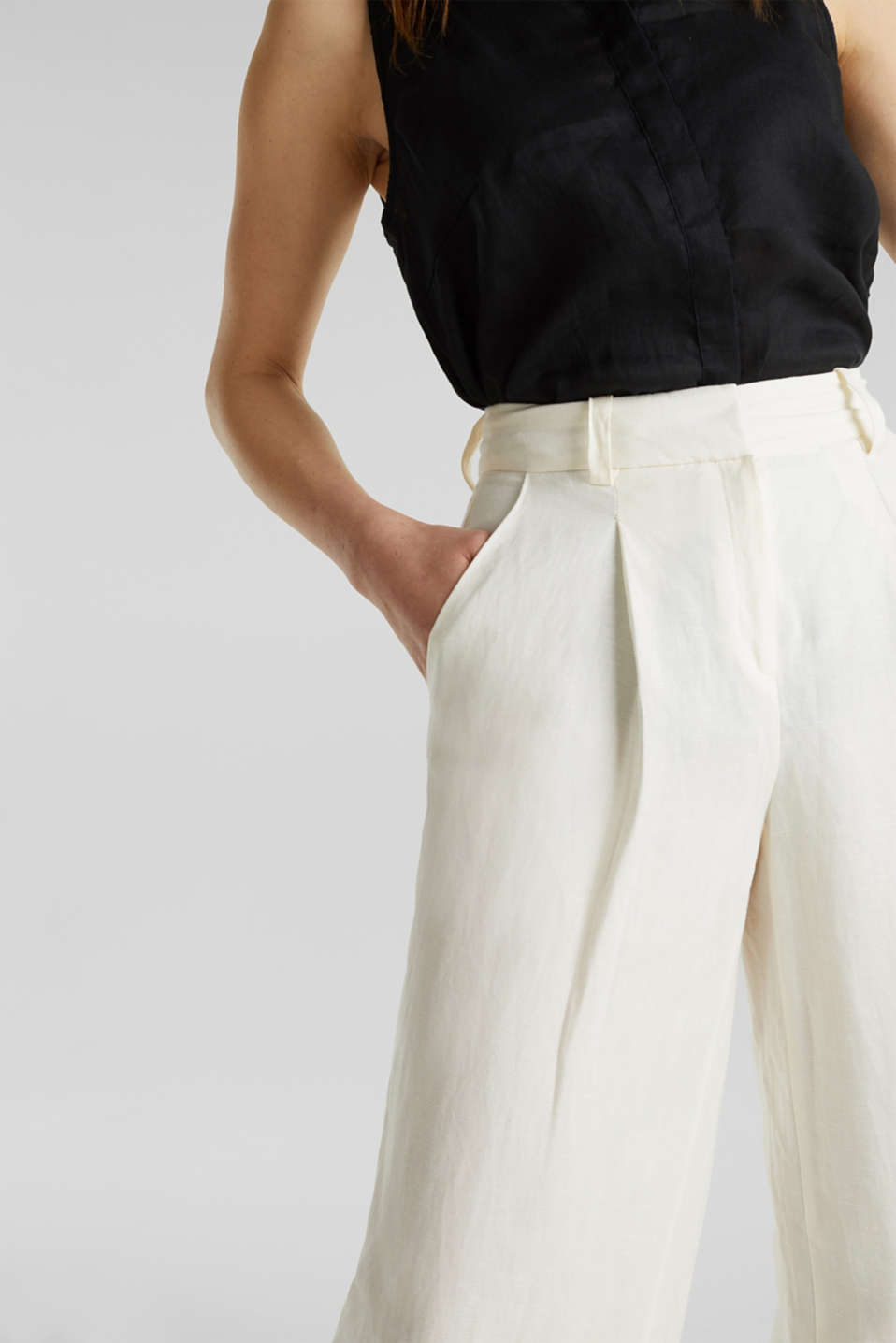 Linen blend: culottes with waist pleats, OFF WHITE, detail image number 2