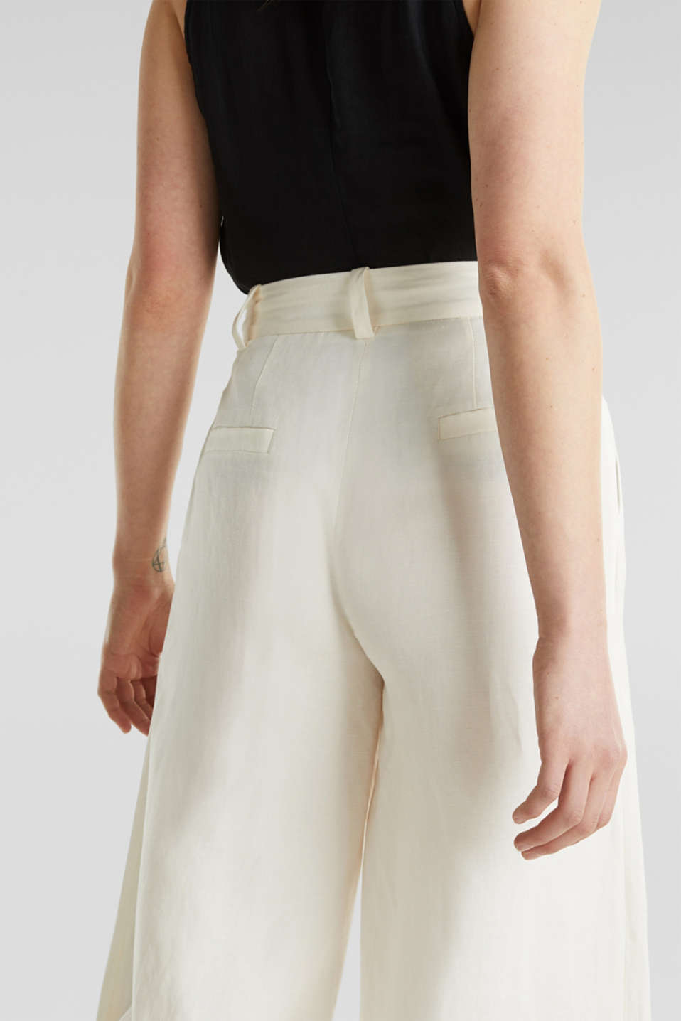 Linen blend: culottes with waist pleats, OFF WHITE, detail image number 5