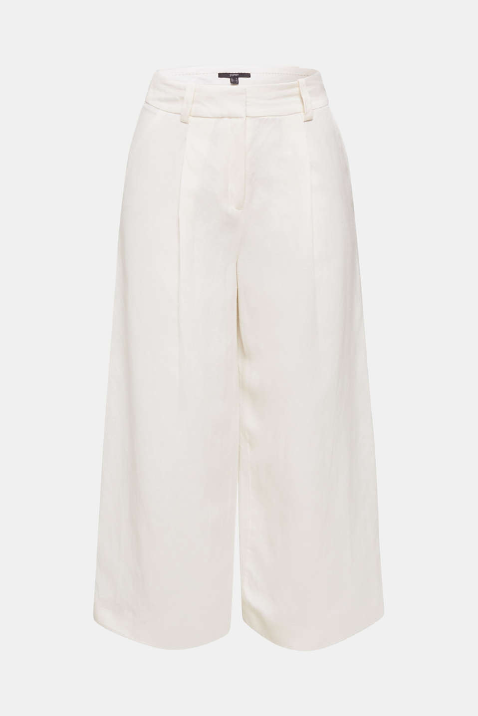 Linen blend: culottes with waist pleats, OFF WHITE, detail image number 6