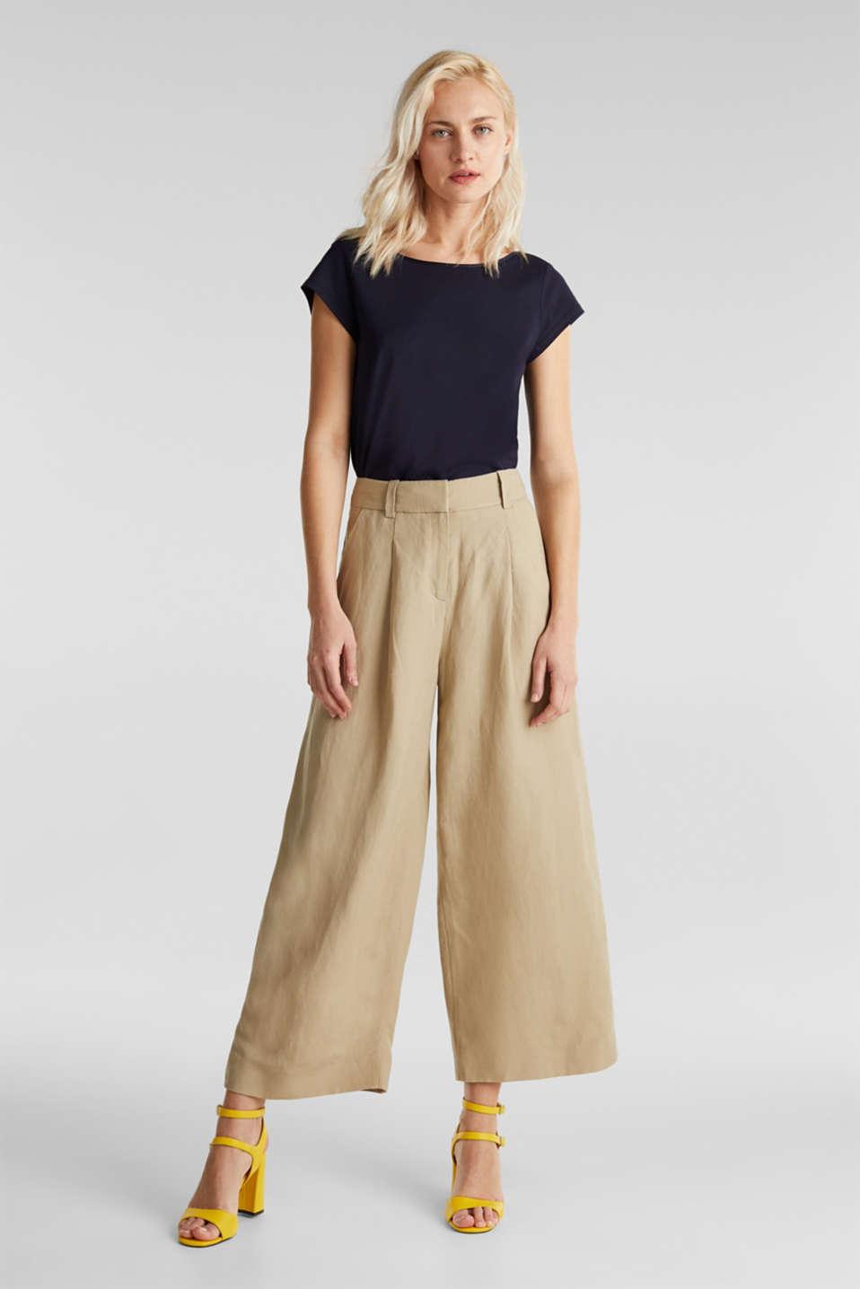 Linen blend: culottes with waist pleats, KHAKI BEIGE, detail image number 0