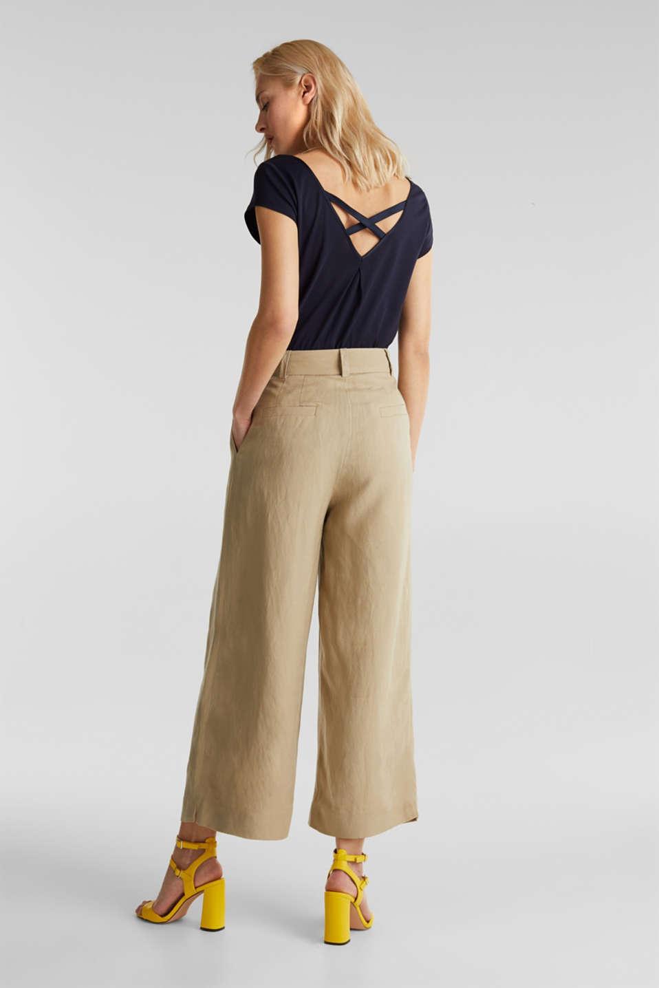 Linen blend: culottes with waist pleats, KHAKI BEIGE, detail image number 3