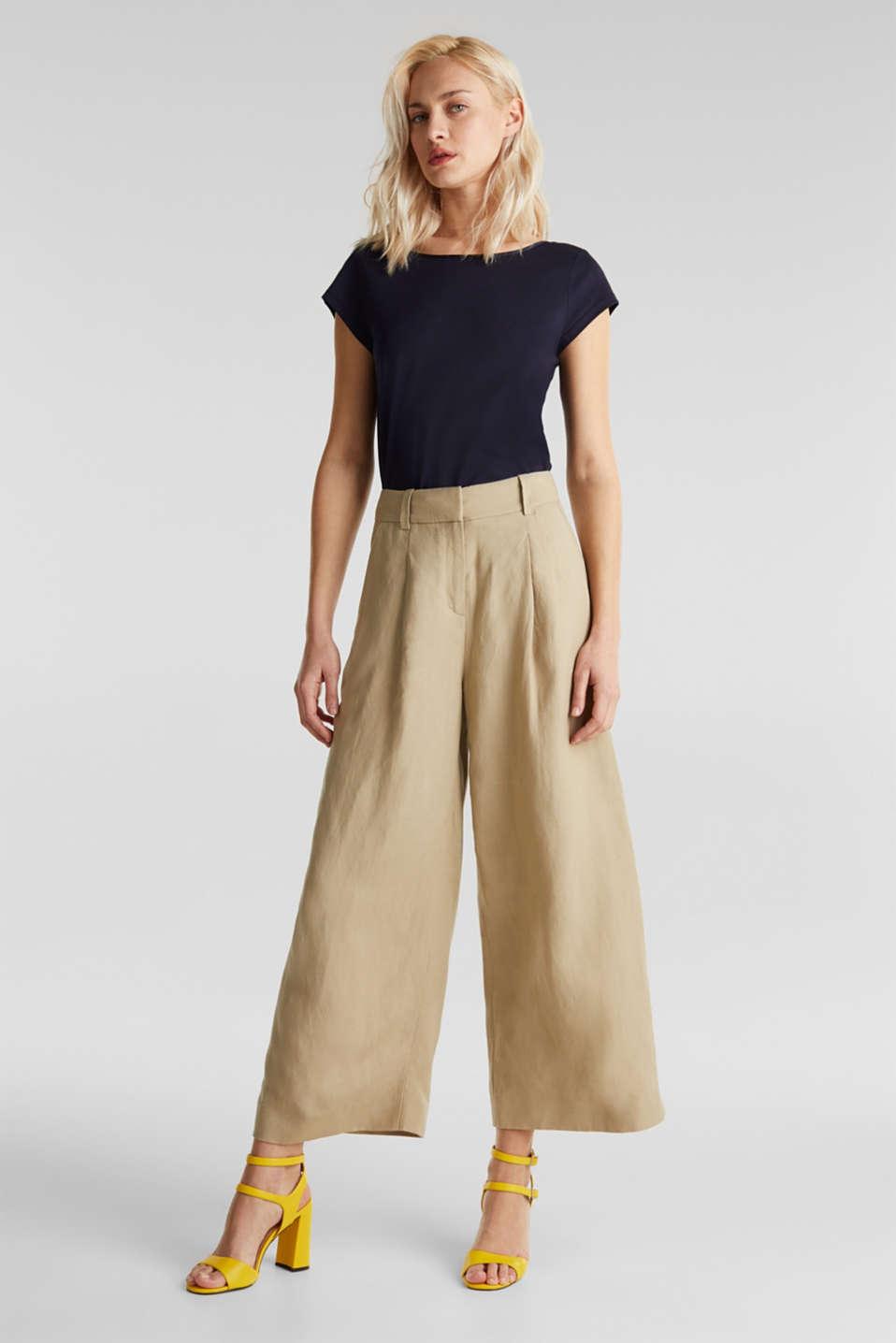 Linen blend: culottes with waist pleats, KHAKI BEIGE, detail image number 1