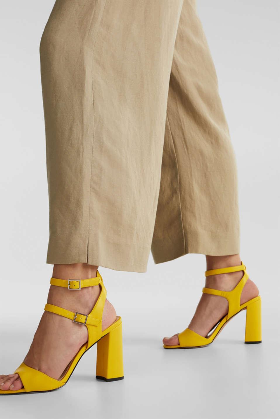 Linen blend: culottes with waist pleats, KHAKI BEIGE, detail image number 2