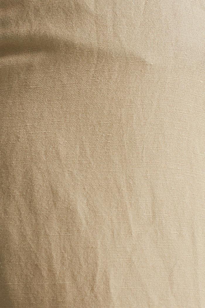 Van een linnenmix: culotte met bandplooien, KHAKI BEIGE, detail image number 4