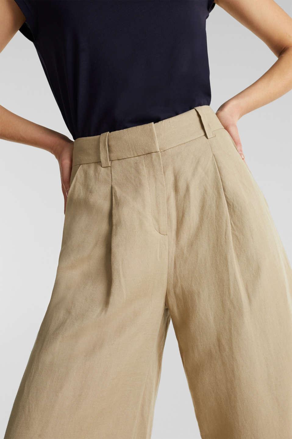 Linen blend: culottes with waist pleats, KHAKI BEIGE, detail image number 5