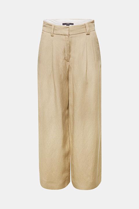 Linen blend: culottes with waist pleats