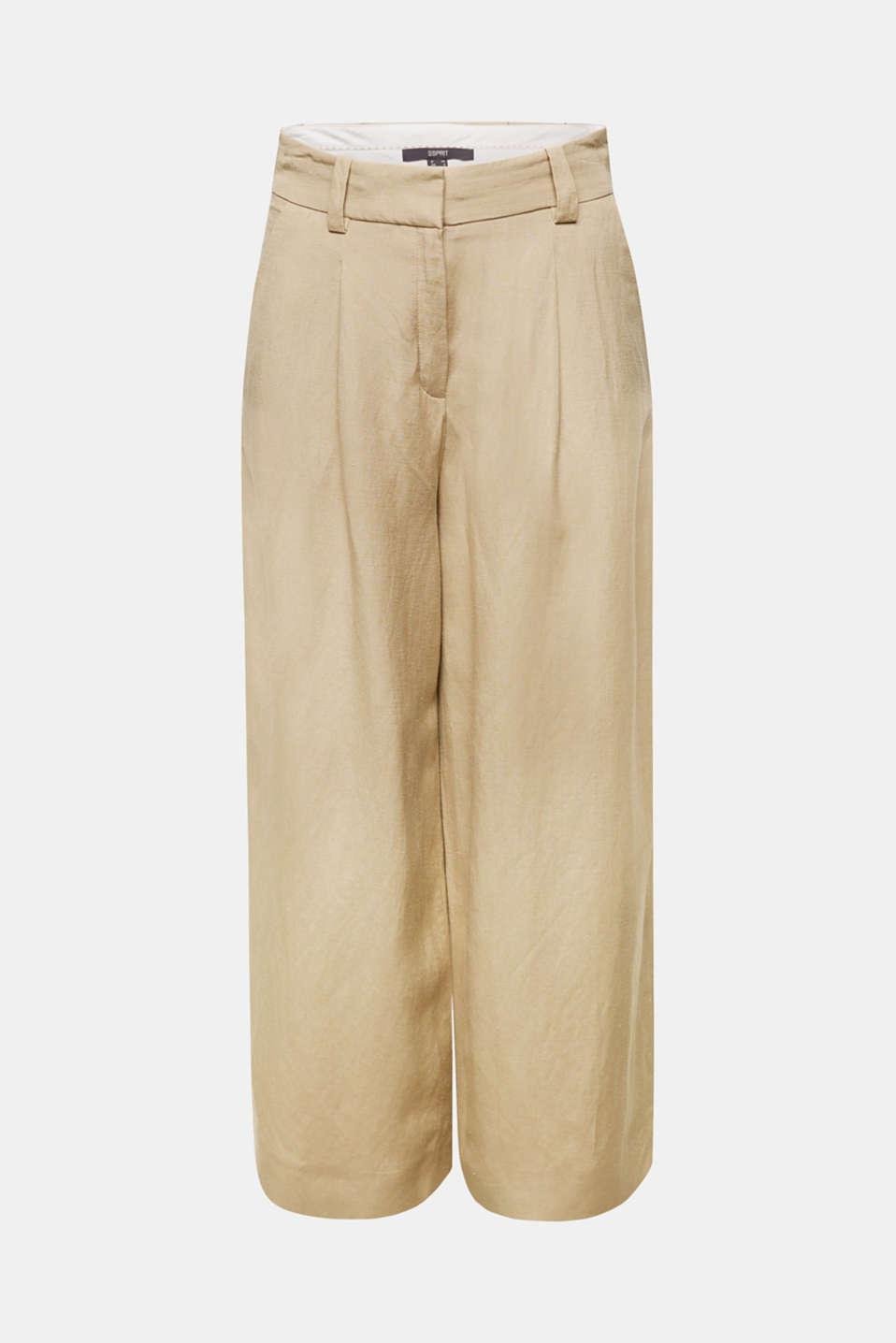 Linen blend: culottes with waist pleats, KHAKI BEIGE, detail image number 8