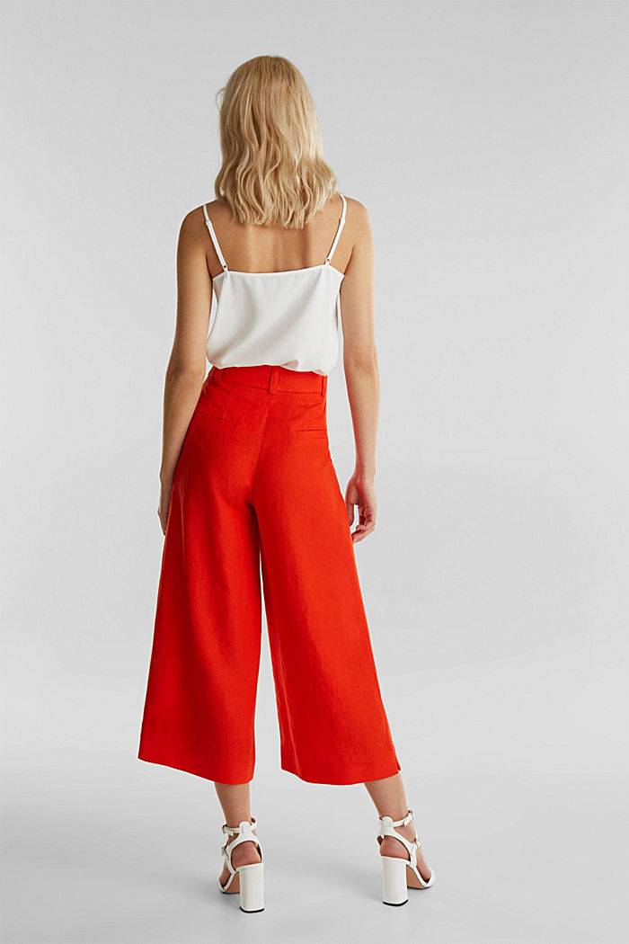Linen blend: culottes with waist pleats, RED ORANGE, detail image number 3