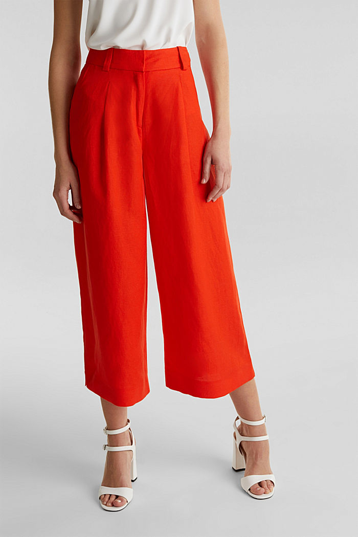 Linen blend: culottes with waist pleats, RED ORANGE, detail image number 6
