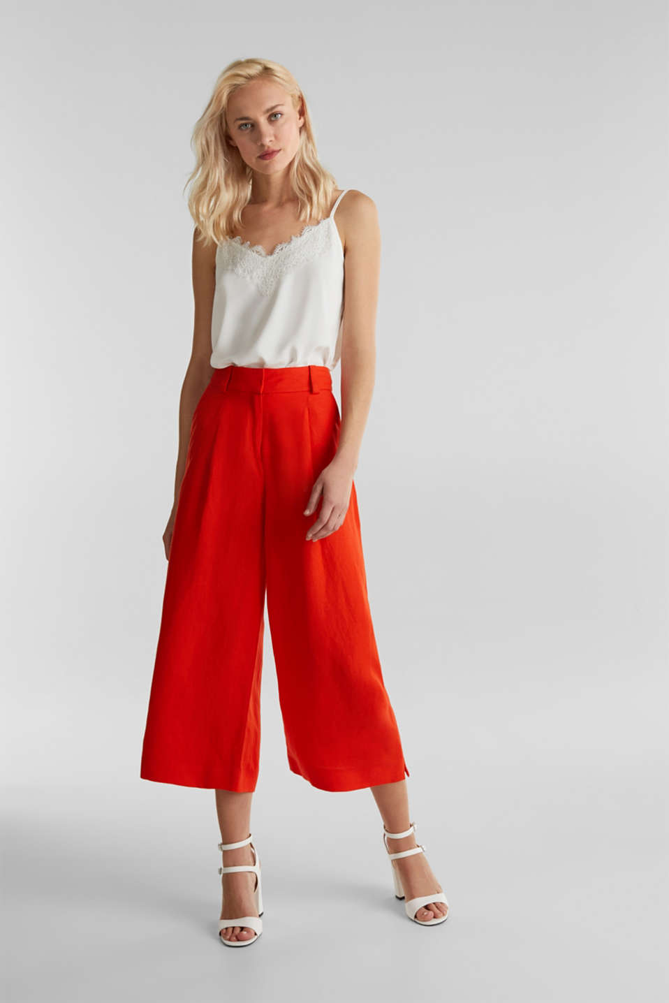Linen blend: culottes with waist pleats, RED ORANGE, detail image number 1