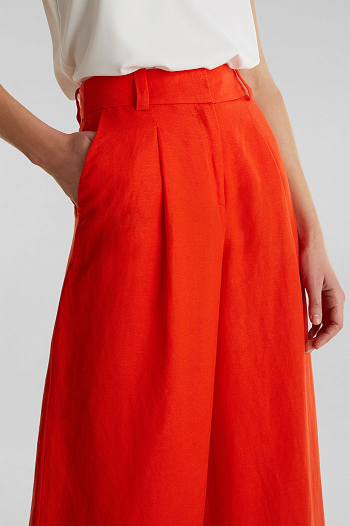 Linen blend: culottes with waist pleats, RED ORANGE, detail image number 2