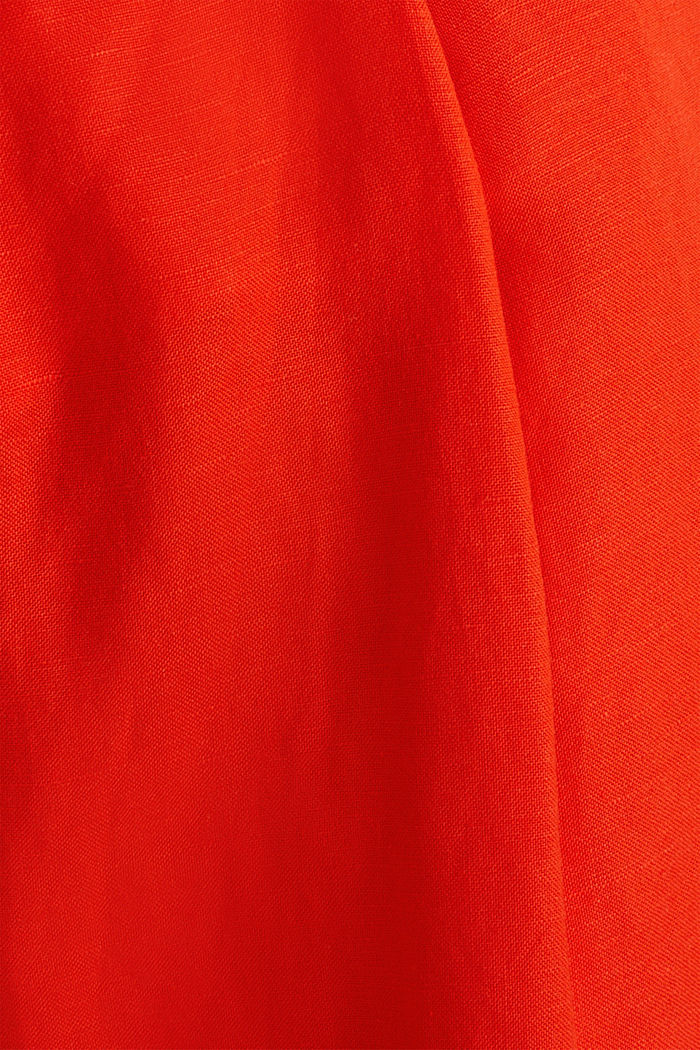 Linen blend: culottes with waist pleats, RED ORANGE, detail image number 4