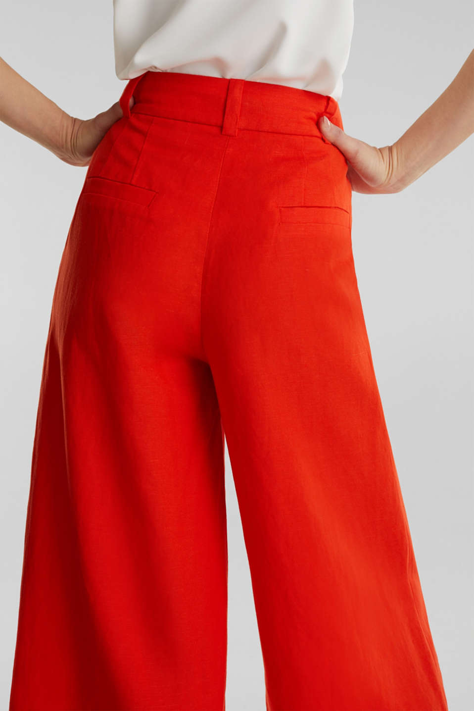 Linen blend: culottes with waist pleats, RED ORANGE, detail image number 5