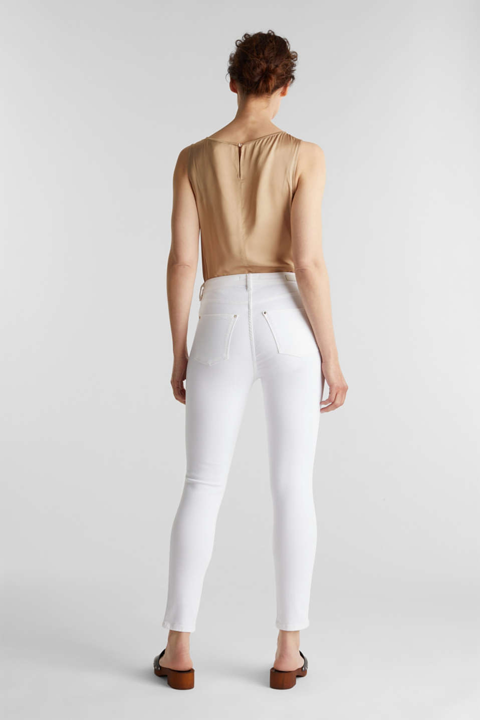 Ankle-length jeans with gold-coloured details, WHITE, detail image number 3