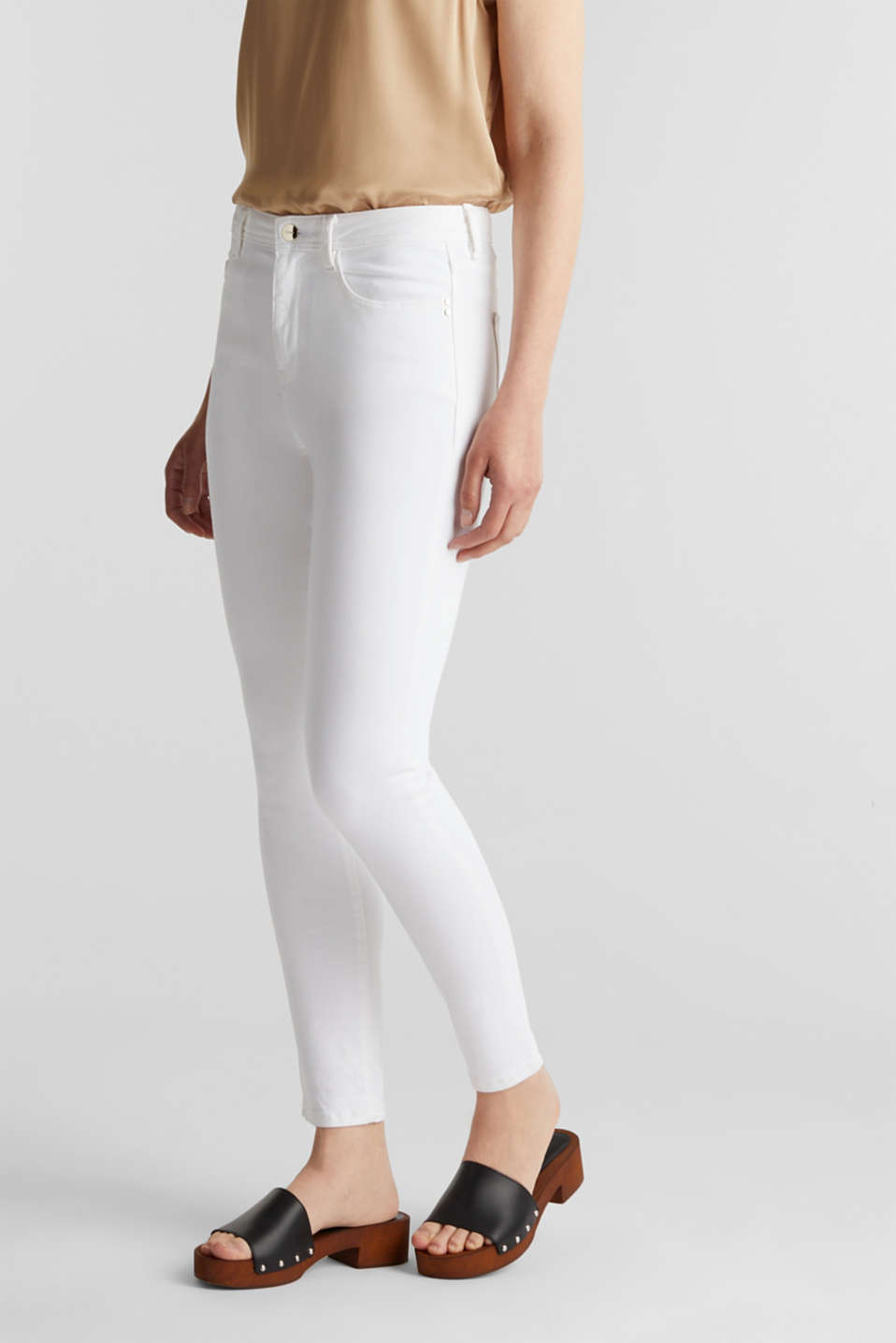 Ankle-length jeans with gold-coloured details, WHITE, detail image number 6