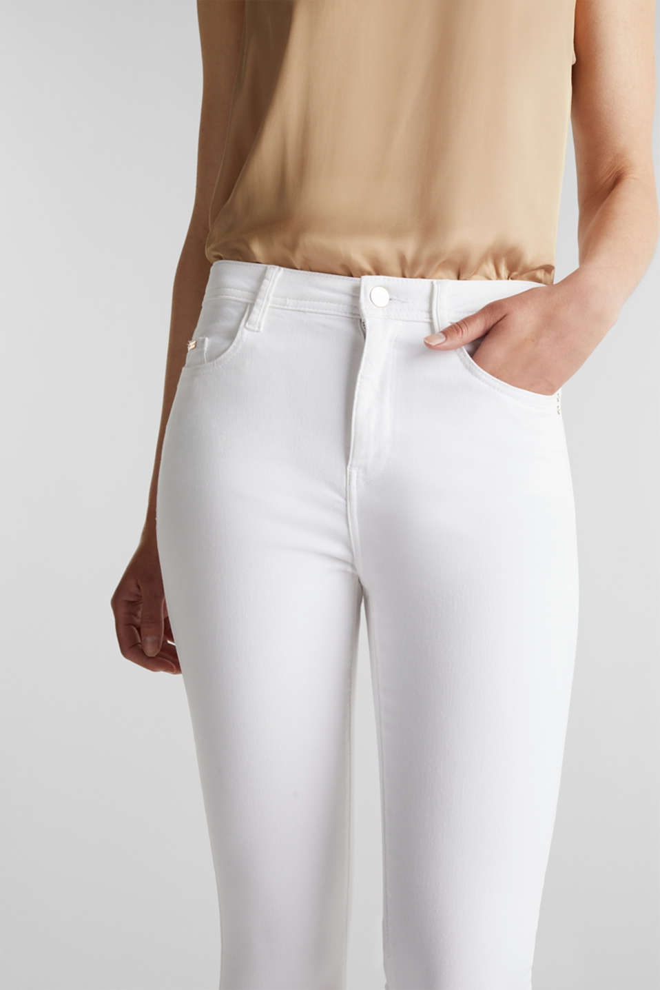 Ankle-length jeans with gold-coloured details, WHITE, detail image number 2
