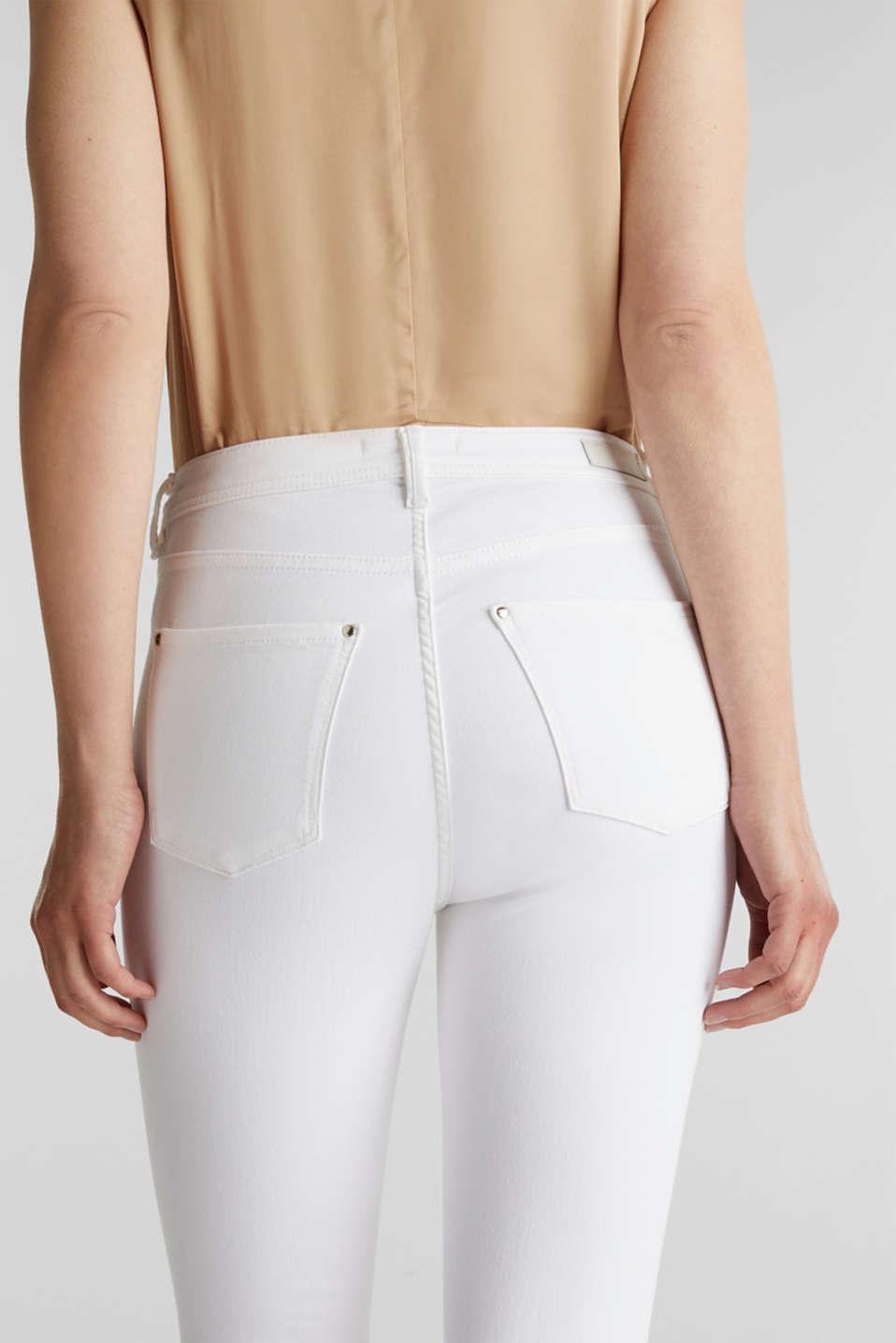 Ankle-length jeans with gold-coloured details, WHITE, detail image number 5