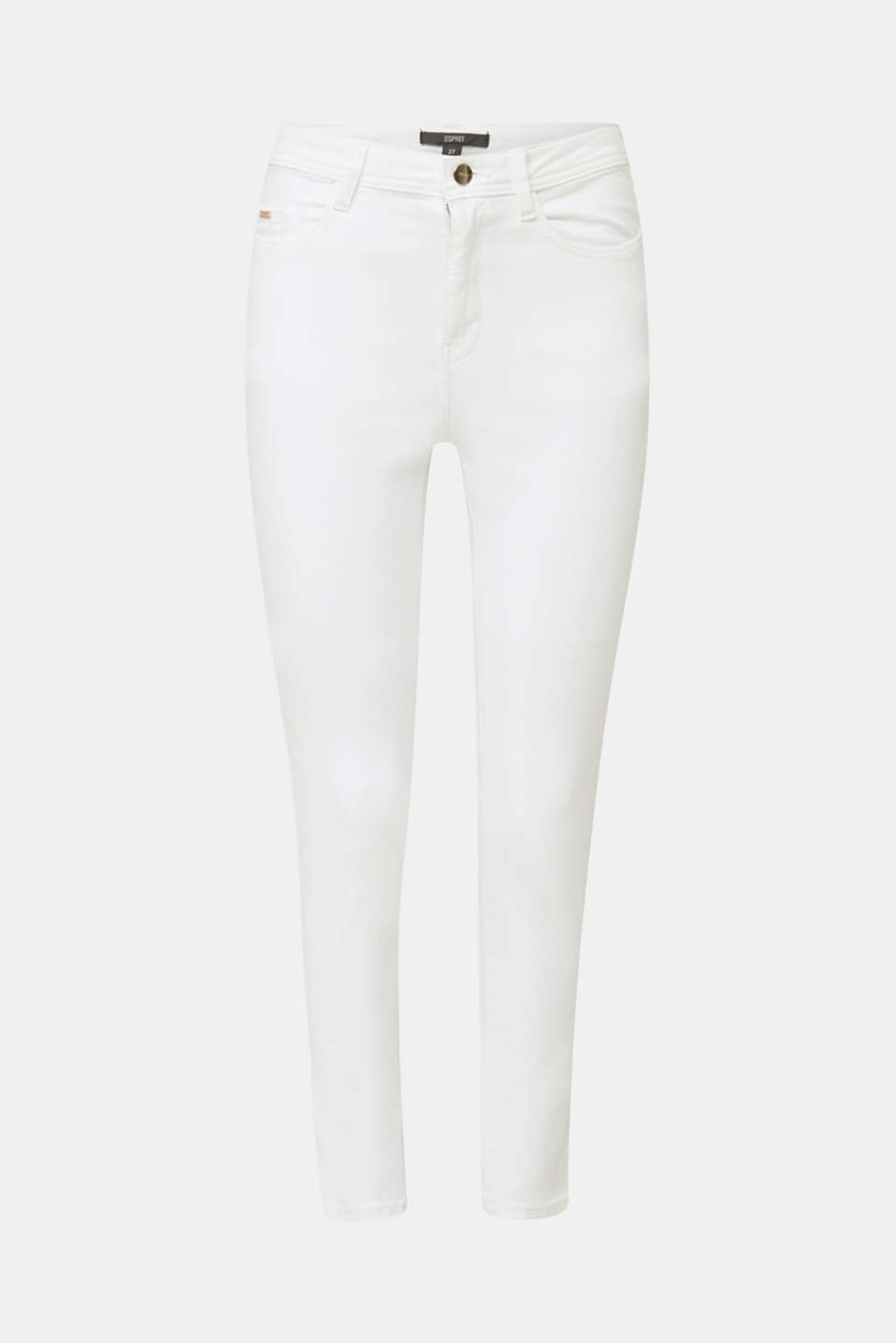 Ankle-length jeans with gold-coloured details, WHITE, detail image number 7
