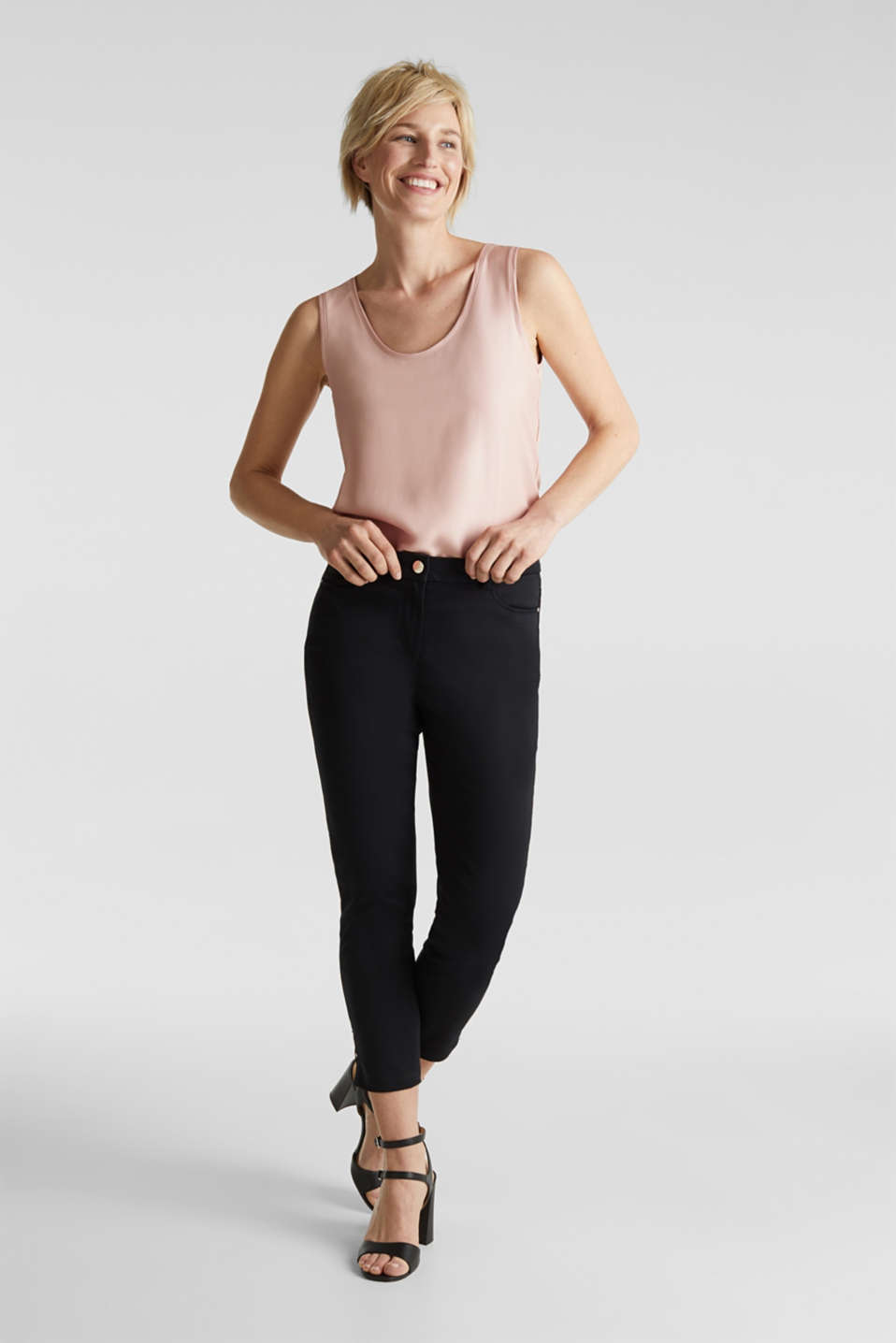 Esprit - Enkellange business pantalon van satijn