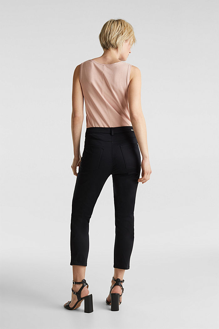 Knee-length satin business trousers, BLACK, detail image number 2