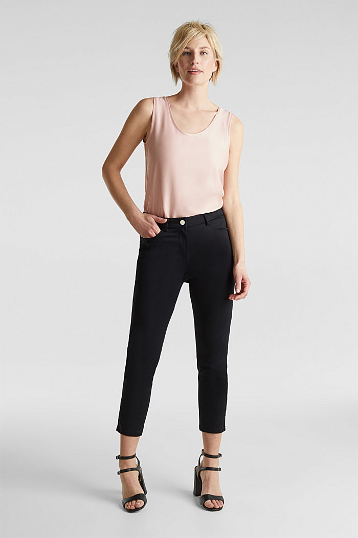 Knee-length satin business trousers, BLACK, detail image number 1