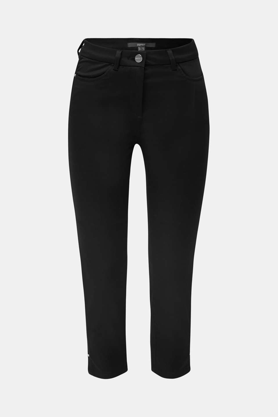 Knee-length satin business trousers, BLACK, detail image number 4