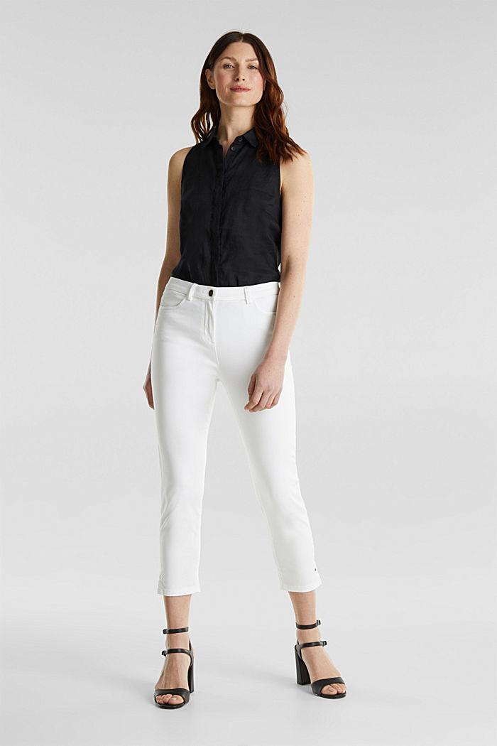 Pantalon business en satin de longueur cheville, WHITE, detail image number 0