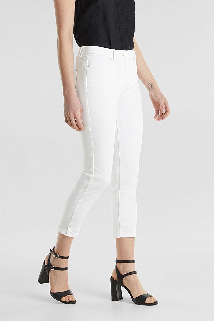 Pantalon business en satin de longueur cheville, WHITE, detail image number 5