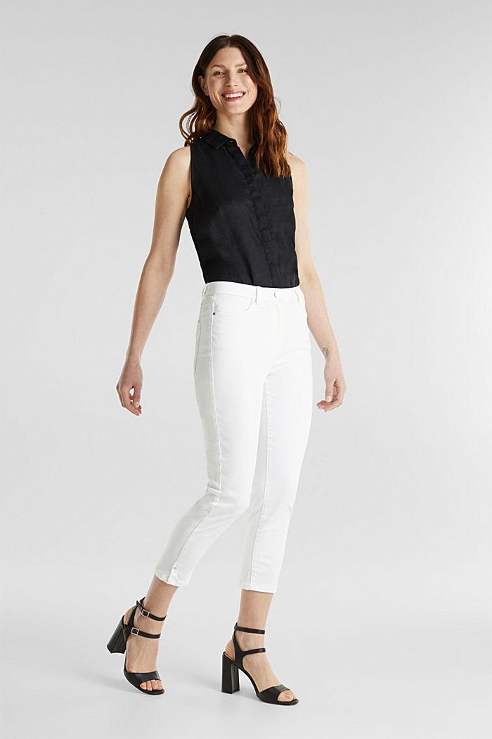 Pantalon business en satin de longueur cheville, WHITE, detail image number 1