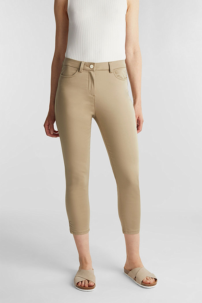 Knee-length satin business trousers, KHAKI BEIGE, detail image number 0