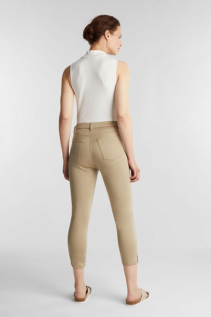 Knee-length satin business trousers, KHAKI BEIGE, detail image number 3