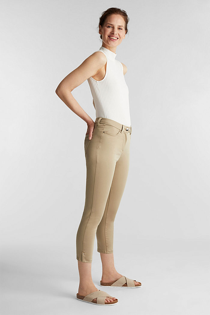 Knee-length satin business trousers, KHAKI BEIGE, detail image number 1