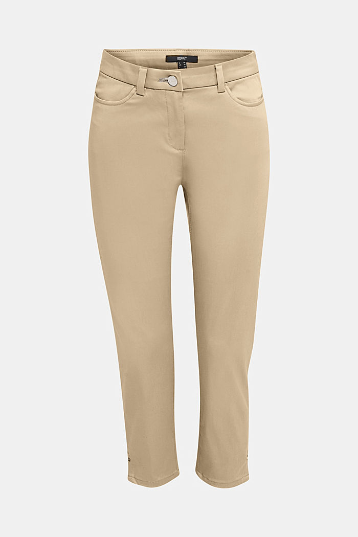 Knee-length satin business trousers, KHAKI BEIGE, detail image number 6
