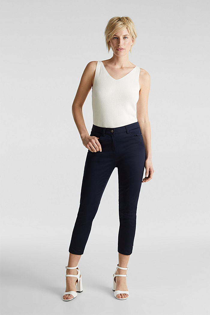 Knee-length satin business trousers, NAVY, detail image number 0