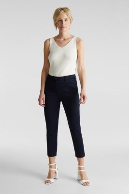 Knee-length satin business trousers, NAVY, detail