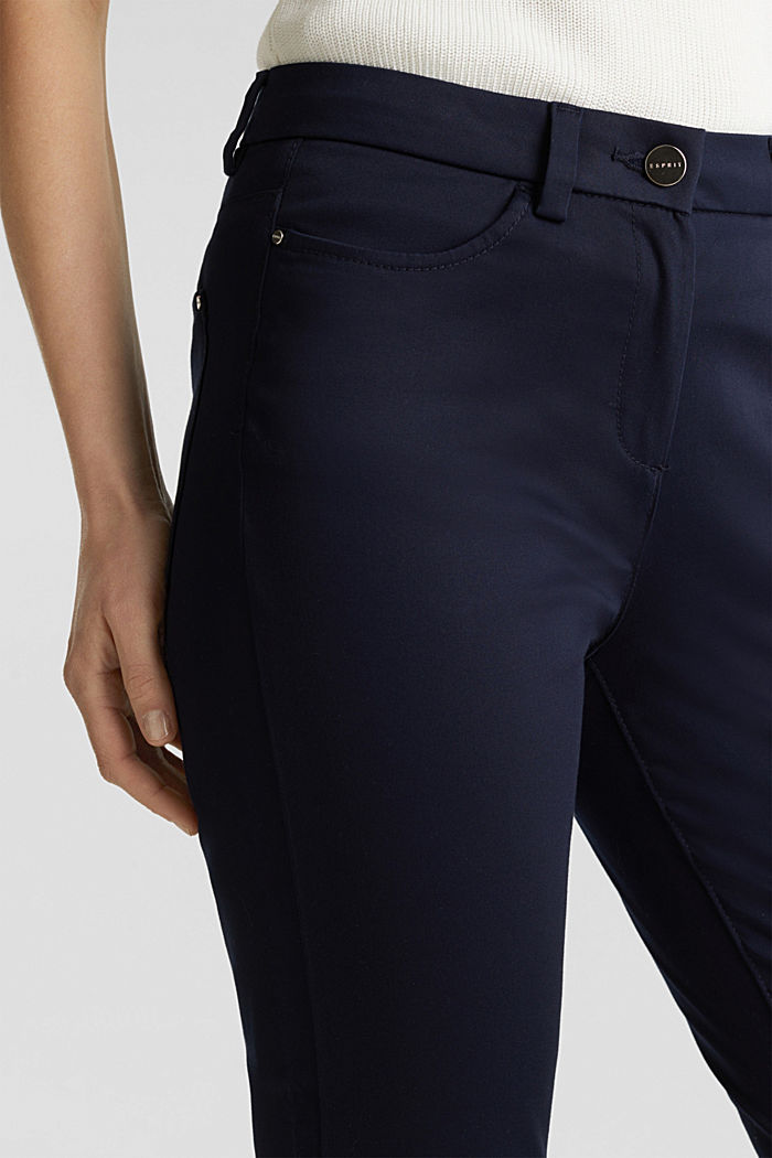 Knee-length satin business trousers, NAVY, detail image number 2