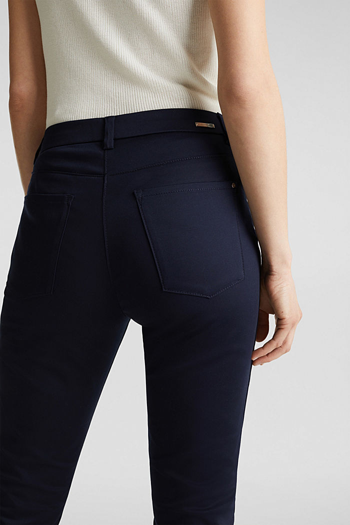 Knee-length satin business trousers, NAVY, detail image number 6
