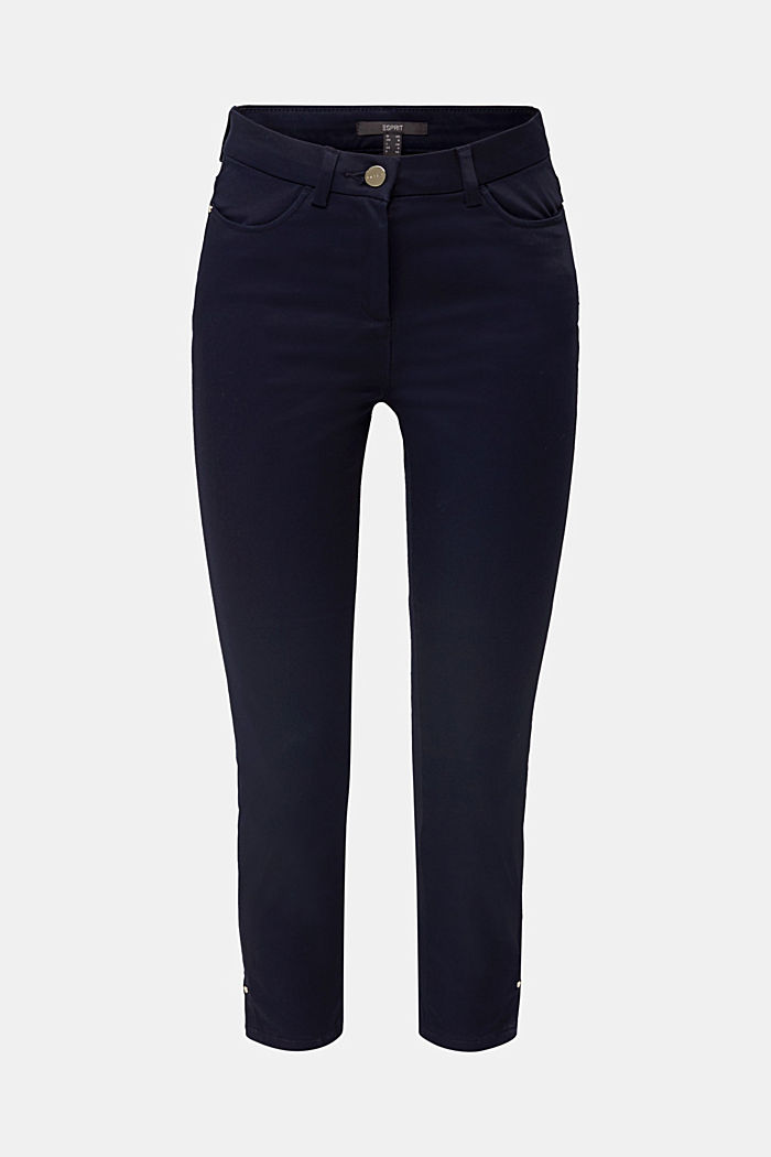 Knee-length satin business trousers, NAVY, detail image number 7