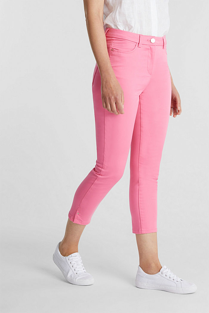 Knee-length satin business trousers, PINK, detail image number 0